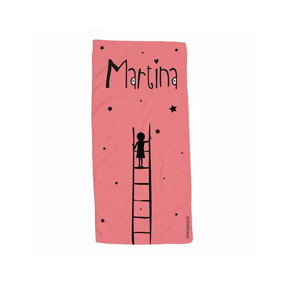 Toalla personalizada escalera rojo para niña