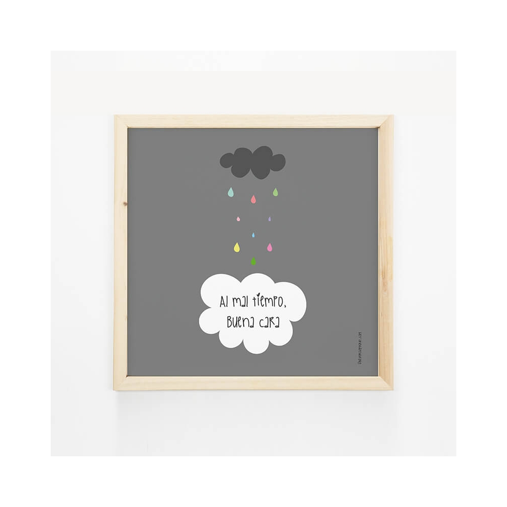 Lámina Mensaje Nube Gris para decorar las paredes