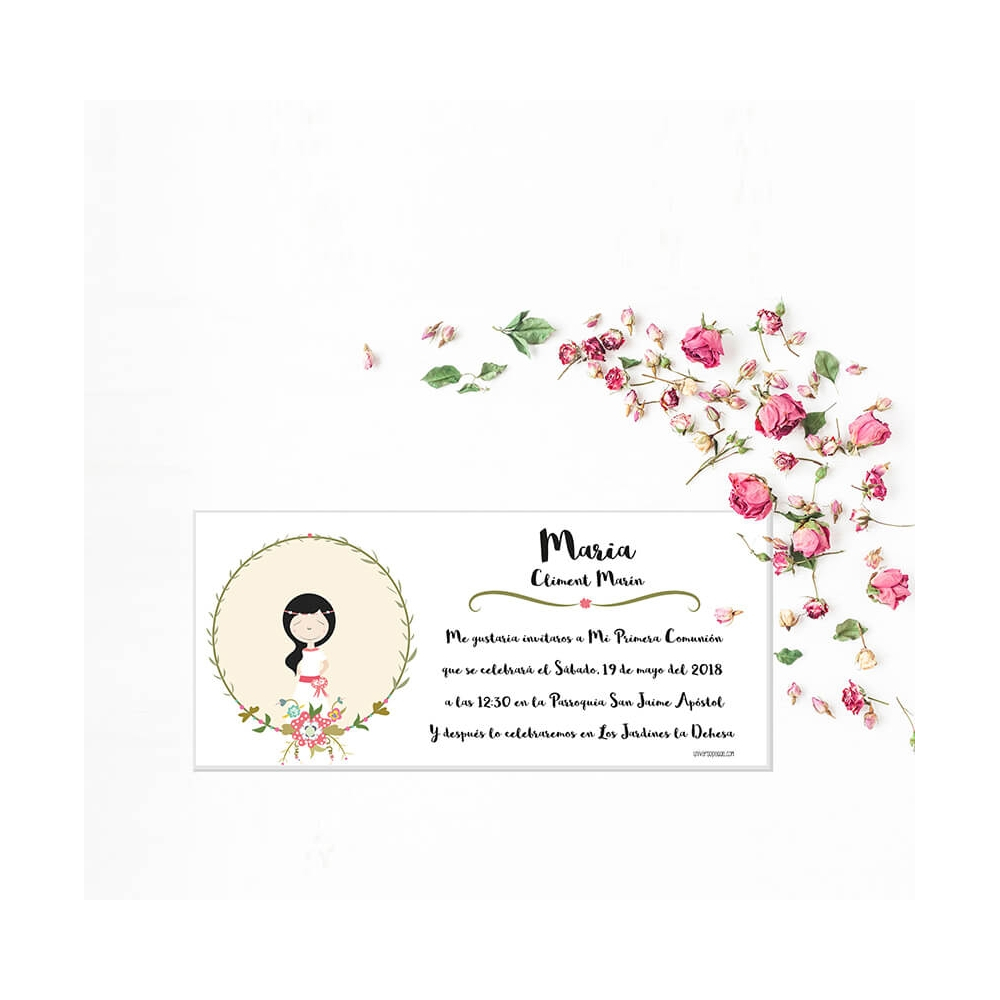 Invitaci n descargable primera comuni n princesa - Como hacer tarjetas de comunion ...