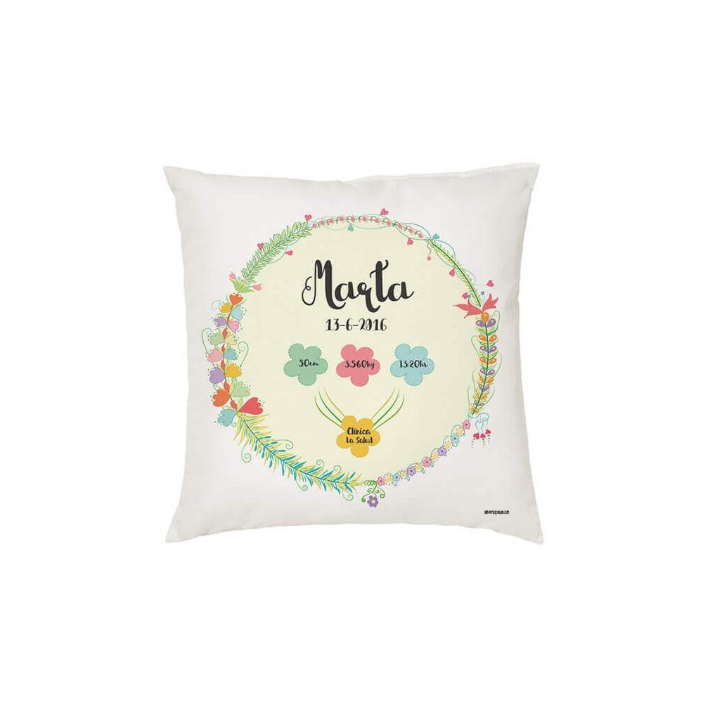 Cojín natalicio personalizado flores universopeque