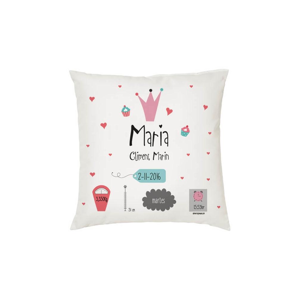 Cojín Natalicio Personalizado reina rosa regalos bebe