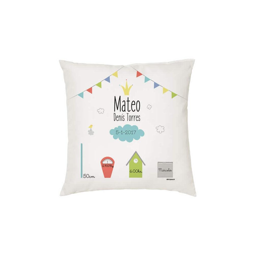Cojín Natalicio personalizado banderines regalo para bebés