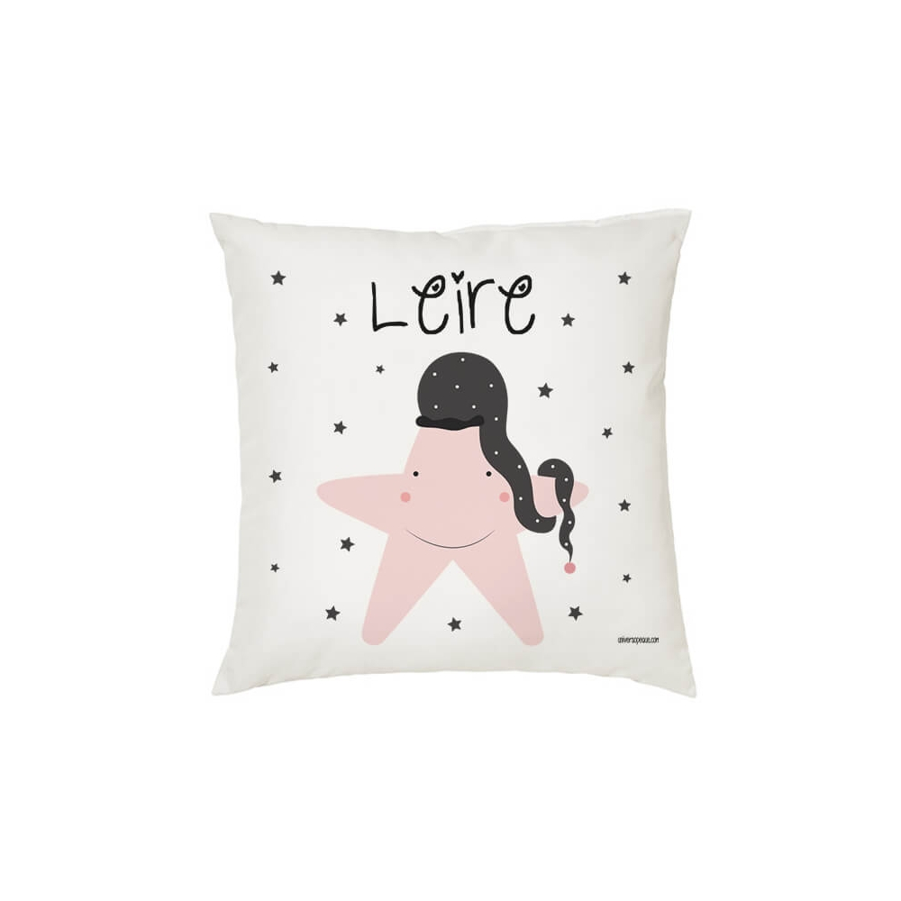 Cojín personalizado Infantil Estrella Rosa para una Niña o Bebé