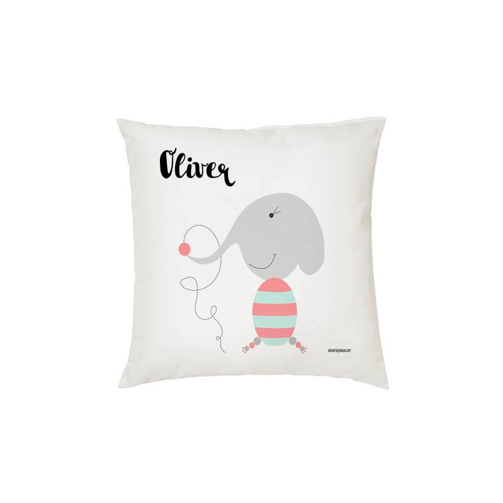 Cojín Personalizado Elefante para decorar la Habitación Infantil. Regalos Originales para Niños, Niñas y Bebés