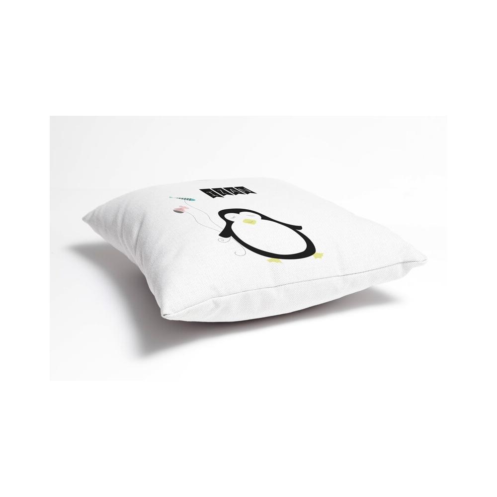 Cojín Personalizado Infantil Pingüino para deocrar el dormitorio infantil del Bebé o Niño