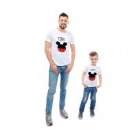 Camisetas personalizadas iguales para el hijo y el padre