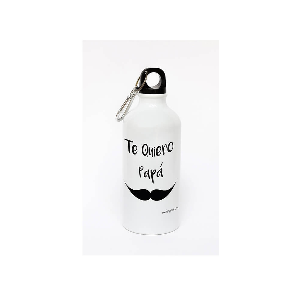 Botella de aluminio personalizada mostacho con mensaje para Papá