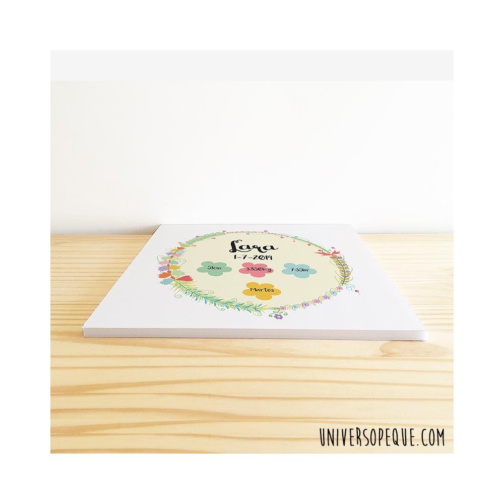 natalicio flores sobre cartón pluma para niña