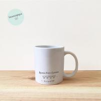 Taza Infantil Personalizada para regalar en la Primera Comunión Minie-Mickey. Reverso de la taza