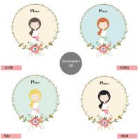 Boceto para elegir el color del cabello de la Taza Personalizada Niña para la Primera Comunión.