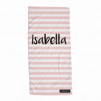 Toalla Personalizada Infantil Rayas Rosas para niñas y bebés