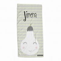 Toalla Personalizada Infantil Pera para regalar a niños, niñas y bebés.