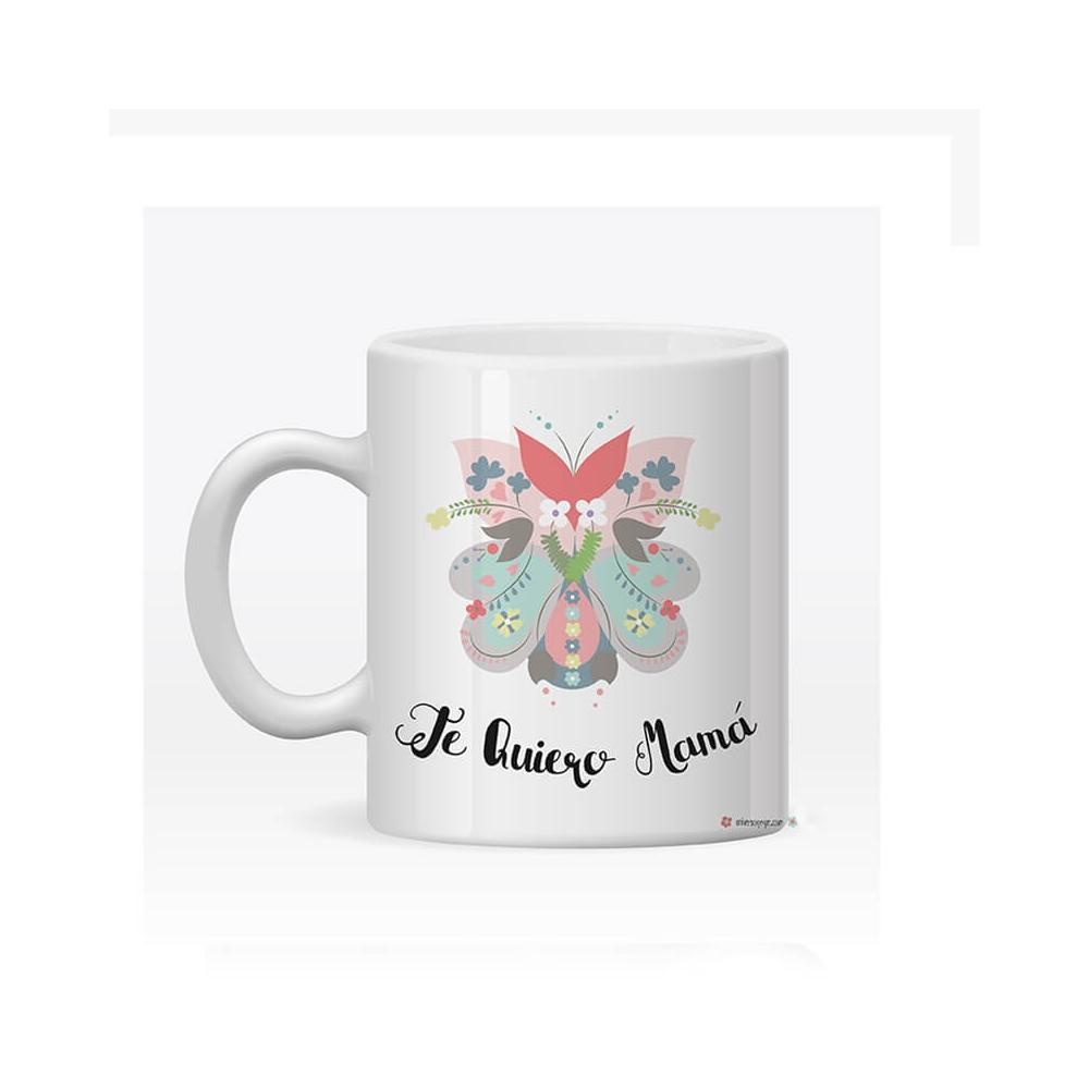 taza personalizada mamá flores con el mensaje que tú decidas