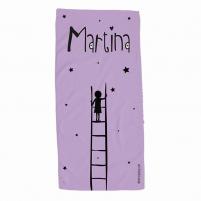 Toalla personalizada escalera morada para niña
