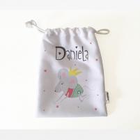 bolsa almuerzo personalizada con el diseño de una ratita presumida