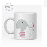 taza plastico personalizada elefante trompita para la guarderia o cole