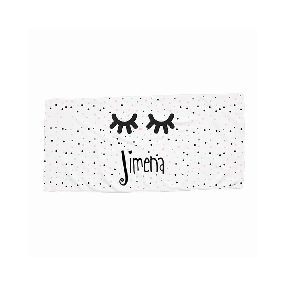 toalla personalizada pequeña con el dibujo de unas pestañas