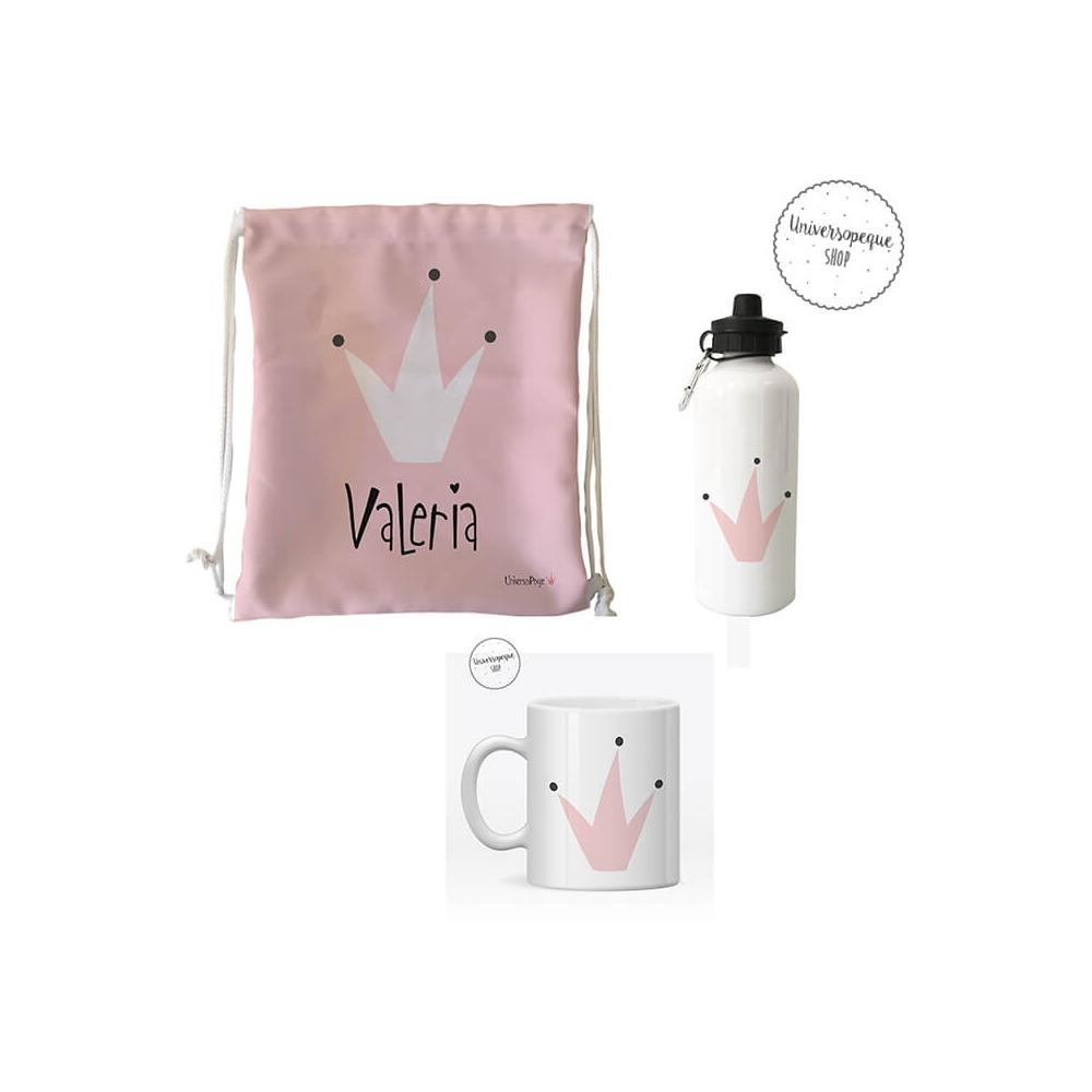Pack ahorro 3 productos, taza, mochila y botella personalizados