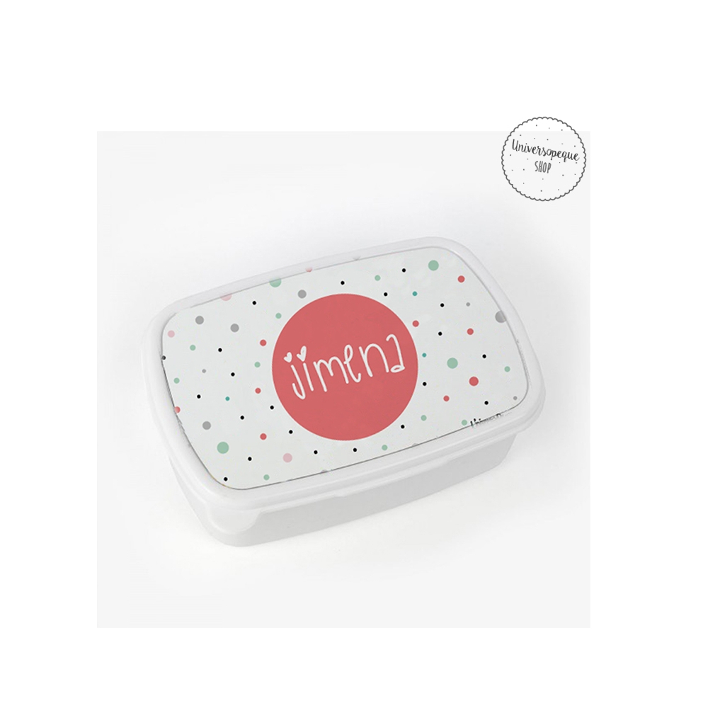 caja para el almuerzo blanca con motas de colores