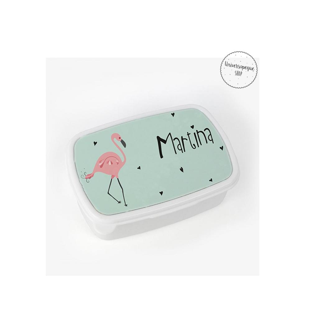 caja para el almuerzo personalizada con el diseño de un flamenco y el nombre de la reina