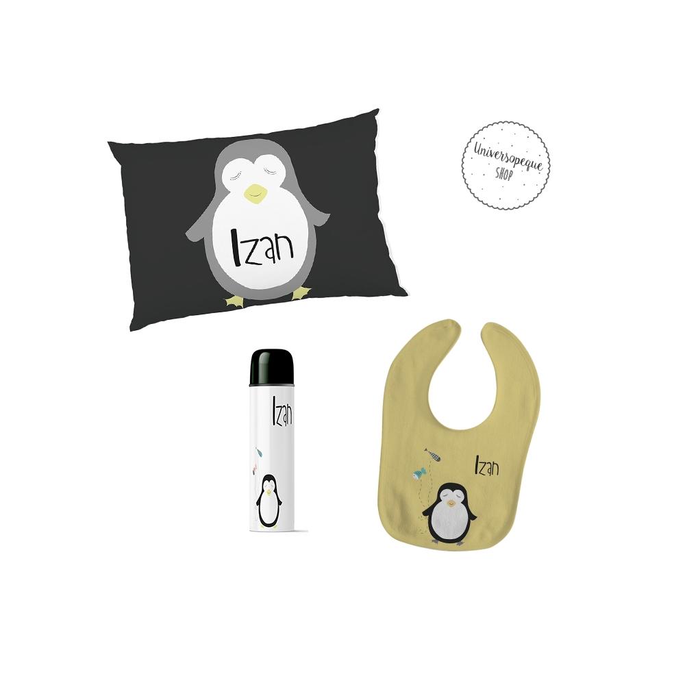 pack de bienvenida al mundo con el dibujo de un pingüino