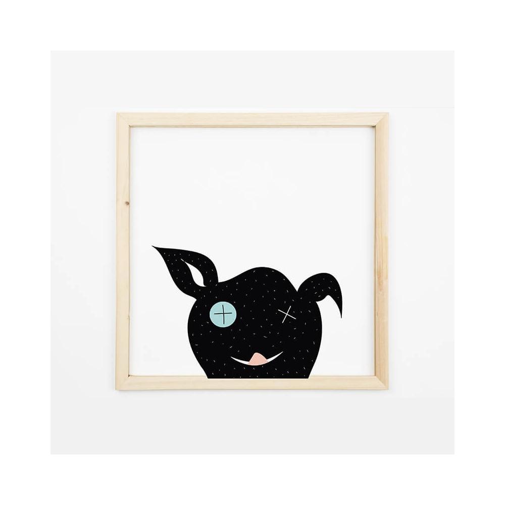 Lámina Infantil Animal Perro negro láminas infantiles