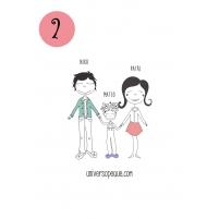variante 2 del dibujo familiar para personalizar regalos