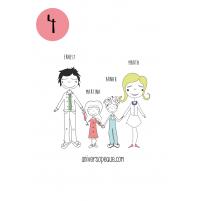 variante 4 del dibujo familiar para personalizar regalos