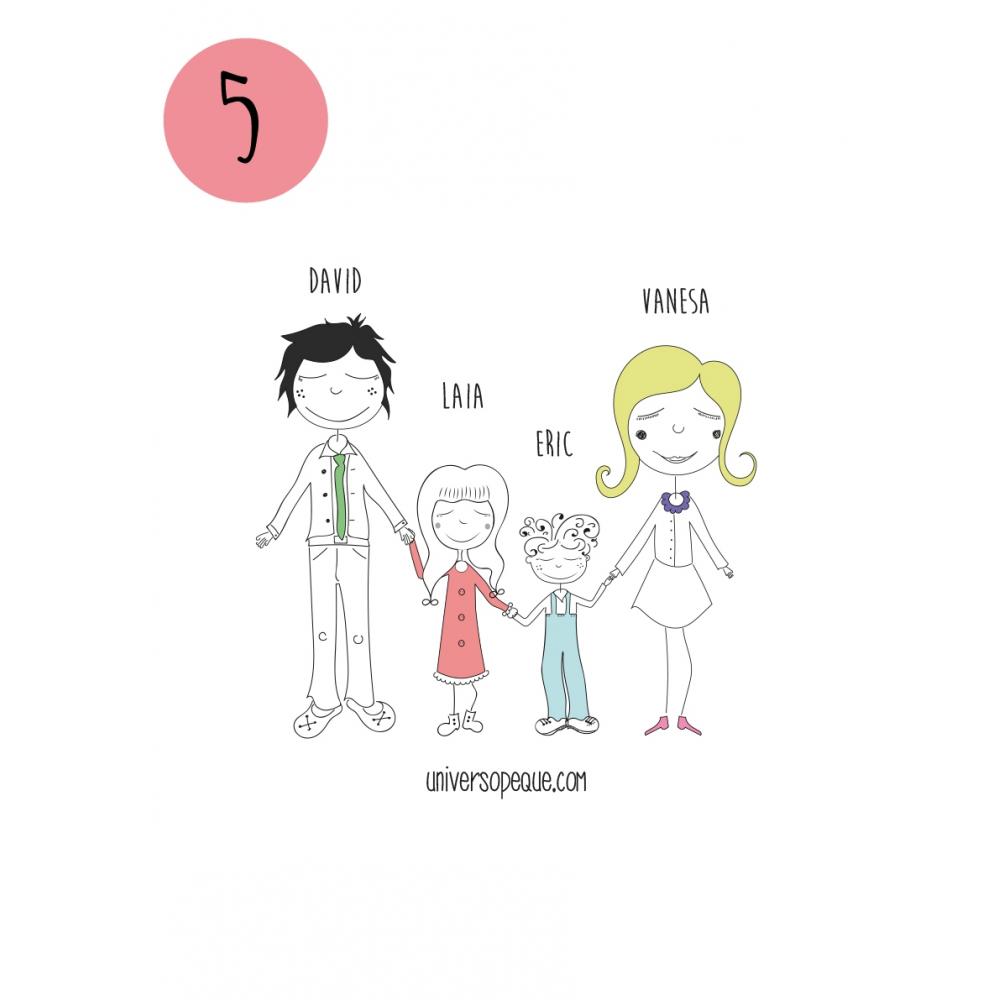 variante 5 del dibujo familiar para personalizar regalos