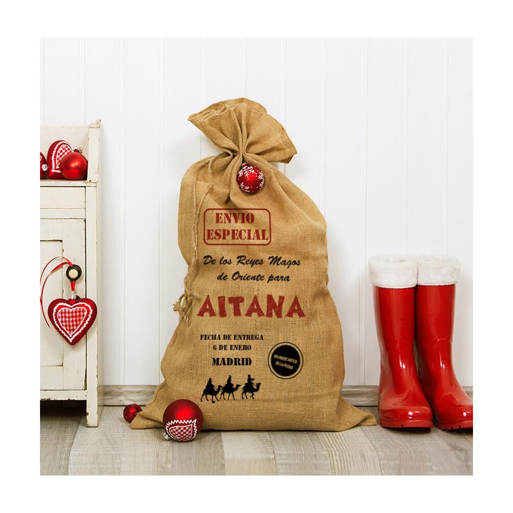 saco de yute personalizado para los regalos de los reyes magos