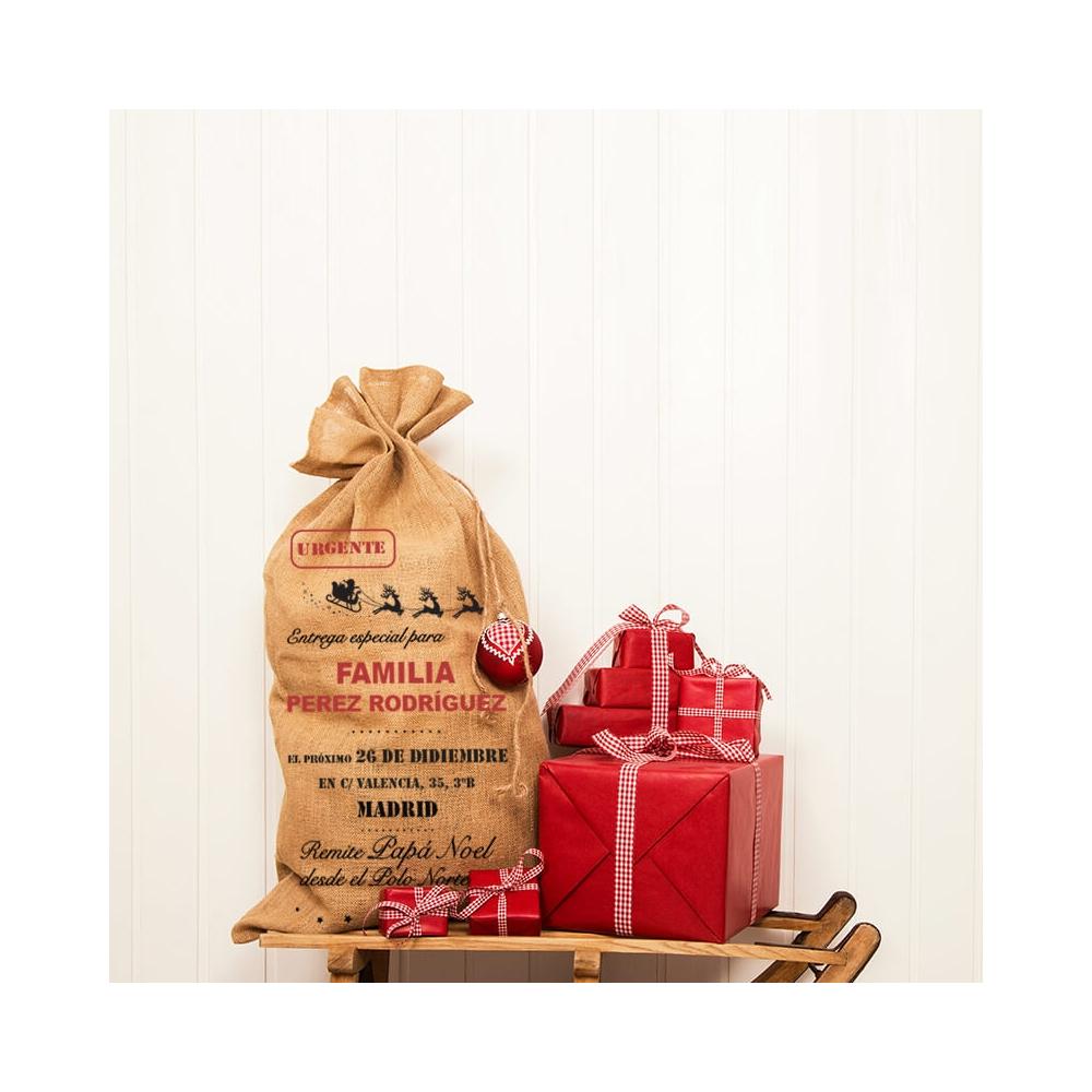 saco de yute familiar personalizado para Papá Noel