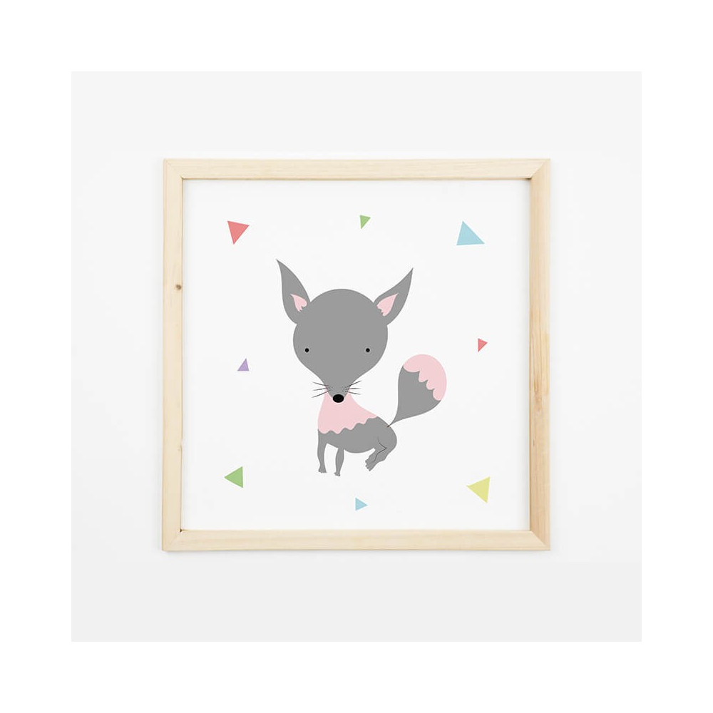 Lámina Infantil Animal Lobito láminas decorativas