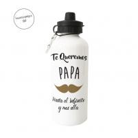 Botella para papa con bigote y frase