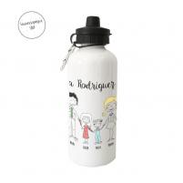 Botella con el nombre de la familia y el dibujo de ésta