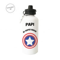 Botella de metal con doble tapón, el logo de capitán américa y un mensaje personalizado para papá