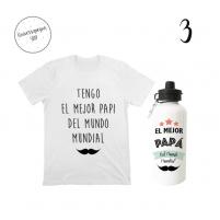 pack regalitos para papa con botella y camiseta para el bebé