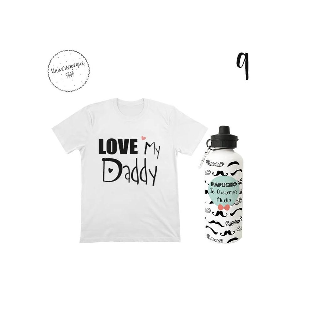 pack camiseta bebe más botella con dedicatoria