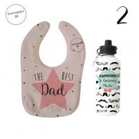 pack papa compuesto de babero personalizado más botella