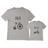 Camisetas personalizadas iguales bicicleta triciclo para papi e hijos