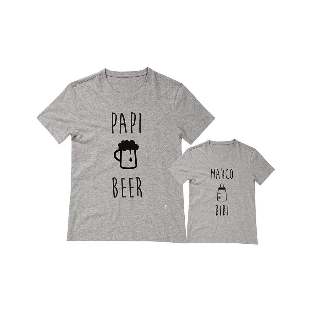 camiseta personalizada para papi e hijo, uno con BIBI y el otro con la BEER