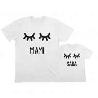 camiseta personalizada mamá e hija pestañas