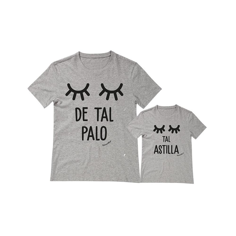 camisetas personalizadas iguales palo astilla niña pestañas gris