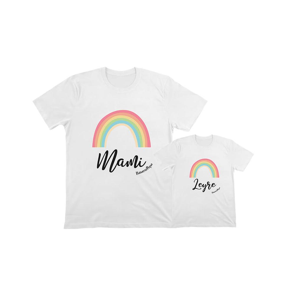 Pack camisetas Iguales Arco Iris para Mami e hijo