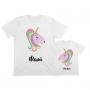 camisetas personalizadas iguales para mamá e hijas con el diseño de un unicornio