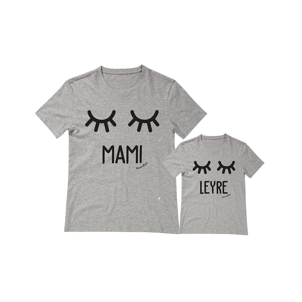 camisetas personalizadas iguales pestañas bigote en color gris