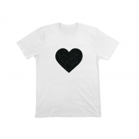 camiseta lentejuelas corazon corte recto