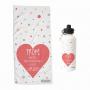 pack toalla botella con el diseño de un corazón y múltiples motas de colores