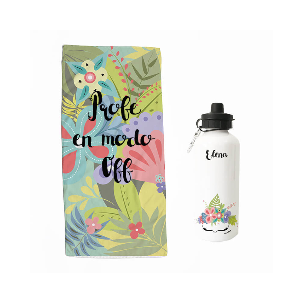 Pack Toalla Botella Profe Off Flores