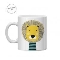 taza leon para el cole con el nombre del peque