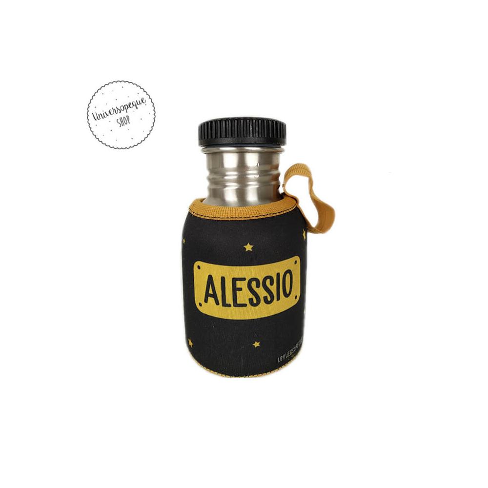 Botella Acero Personalizada León Negro parte trasera